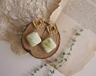 Lemon jade earrings, wedding jewels