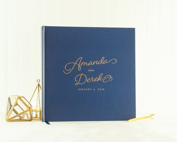 Wedding Guest Book Gold Foil wedding guestbook navy and gold guest sign in book photo guest book wedding photo book wedding planner book