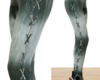 Tie Dye Olive Green Lace Up Corset Leggings