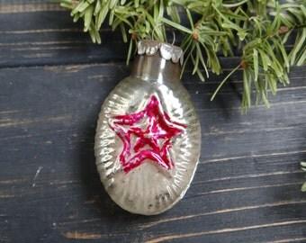 Rare Soviet Christmas tree Star decoration Glass Christmas ornament Russian Propaganda Soviet star Red Army Soviet military Soviet 1940s