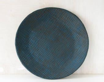 Round, textured, petrol blue, handmade, ceramic plate