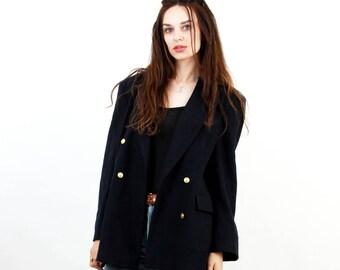 Vintage Wool Coat / Navy Blue Coat / Wool Jacket / Double Breasted Jacket / Oversized Coat / Londonhouse / Women Large Coat / UK12