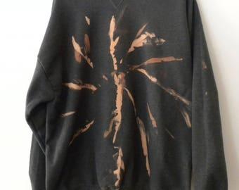 Tie dye Sweatshirt, Gray swirl Sweatshirt, Star burst Sweatshirt, tie dye, acid wash, graphic, sweater, jumper, rocker, retro  sweatshirt