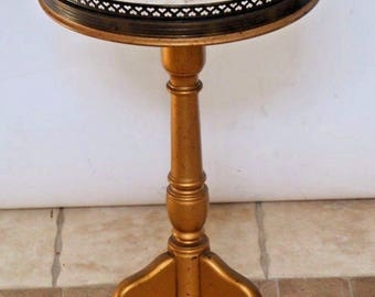 Vintage French Marble Top Brass rimmed Round Display Table Plant Stand Safe Insured Nation wide shipping available please call for rates
