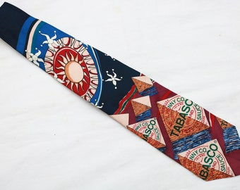 """90's Vintage """"TABASCO"""" 100% Imported Silk Abstract Patterned Tie"""