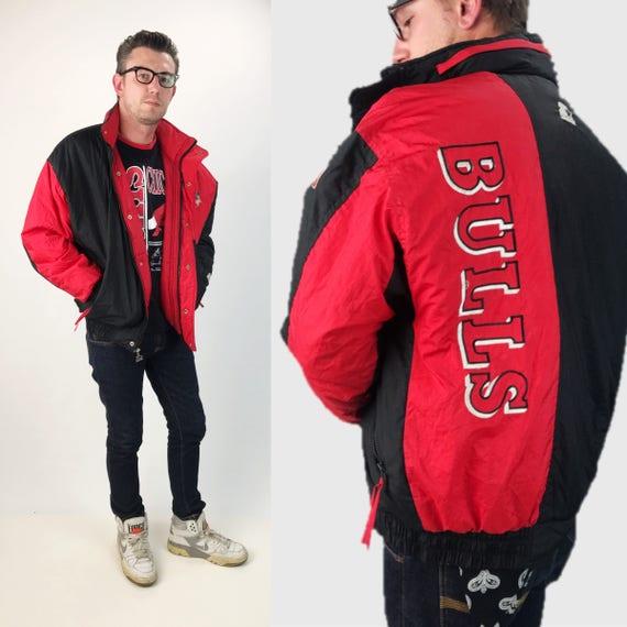 90's Chicago Bulls NBA Starter Jacket Mens Large - NBA Puffy Winter Basketball Streetwear Starter Jacket - Chigaco BULLS Mens Zip Up Coat