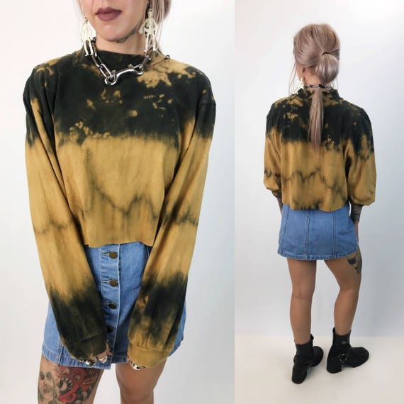 90s Mock Neck Tie Dye Bleached Long Sleeve Cropped Tee Shirt Medium - Upcycled Bleach Black/Tan Cotton Cropped Shirt - Hand Dyed Turtleneck