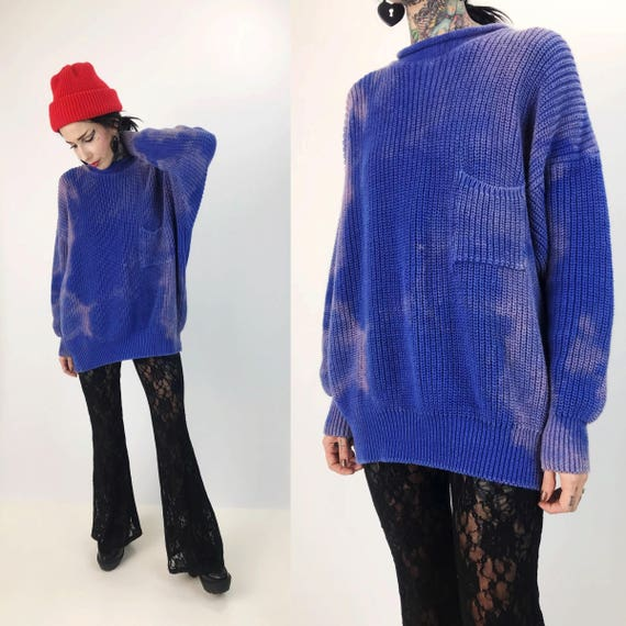 Vintage Grunge Tie Dye Knit Pullover Large Slouchy Knit - Blue Cotton Candy Tie Bleached Slouchy VTG Textured Blue Purple Jumper Sweater