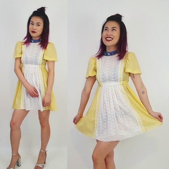 Vintage Pale Butter Yellow Lace Mini Dress XS XXS - Ruffle Gothic Lolita - Girly Sweet Pastel Goth Sailor Moon Kawaii Cupcake Minidress