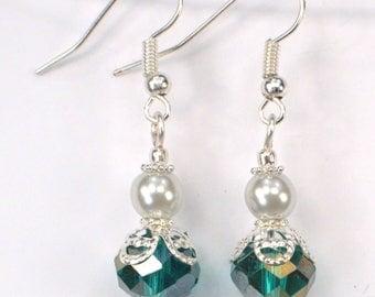 Teal Crystal & White Pearl Earrings, Teal Green Earring Drops, Teal Blue Earrings, Wedding Bridal Earrings, Pearl Earrings (E721)
