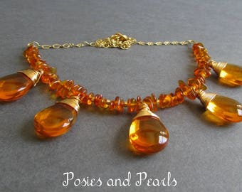 """Wire Wrapped Orange Glass Briolette Necklace, Baltic Amber, Yellow Gold Plated, Wedding Jewelry, """"Glow"""""""