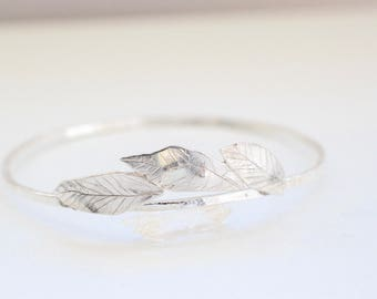 Falling Leaves - Recycled Sterling Silver Cuff