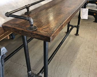 Sofa table, reclaimed wood top with drink rail and industrial pipe legs