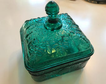 Vintage Tiara Indiana Green Bee Covered Candy Dish