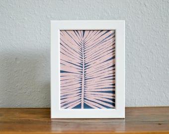 Tropical Palm Leaf PINK - Watercolor Palm Leaf Art Print - Art Print on Handmade Paper - PINK Palm Leaf - PINK Tropical Art