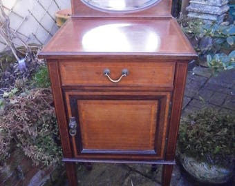 Edwardian Mirrored Back Pot Cupboard - Antique