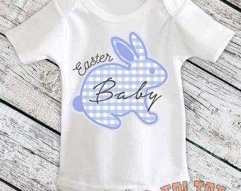 Easter Bunny Bodysuit, Easter Baby, Easter Rabbit Outfit, Blue Plaid, Easter Bunny for Babies, Toddlers, One Piece