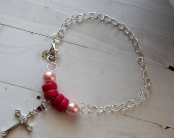 Sterling Silver Christian Jewelry,  Christian Bracelet For Mom, Sterling Silver Bracelet For Her, Rhinestone Bracelet, Sterling Silver Chain