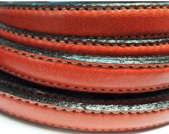 Pre Cuts, No Joins, Red Double Stitched 10mm Flat leather for flat leather bracelets, supplies