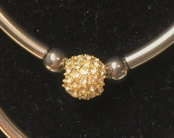 Beadelle Galaxy Collection Gold Crystal Pave Bead, 4.5mm hole, crystal finding, jewelry supply, round leather bracelet, necklace, earring,