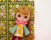 retro kitsch geometric print clown dress for Blythe doll / BABY-BOOM