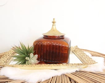 Vintage Amber Decanter Candy Dish Perfume Bottle Brass Lid Vessel Barware Storage