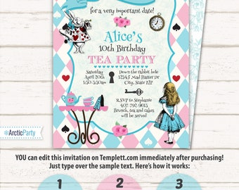 Alice in Wonderland Invitations - Alice in Wonderland Tea Party - Alice in Wonderland Birthday Invitations - INSTANT ACCESS - Edit NOW!