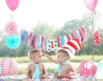 TWINS Red Chevron Aqua Dr Seuss Inspired 1st Birthday Diaper Cover Necktie Cake Smash 4 pc Set
