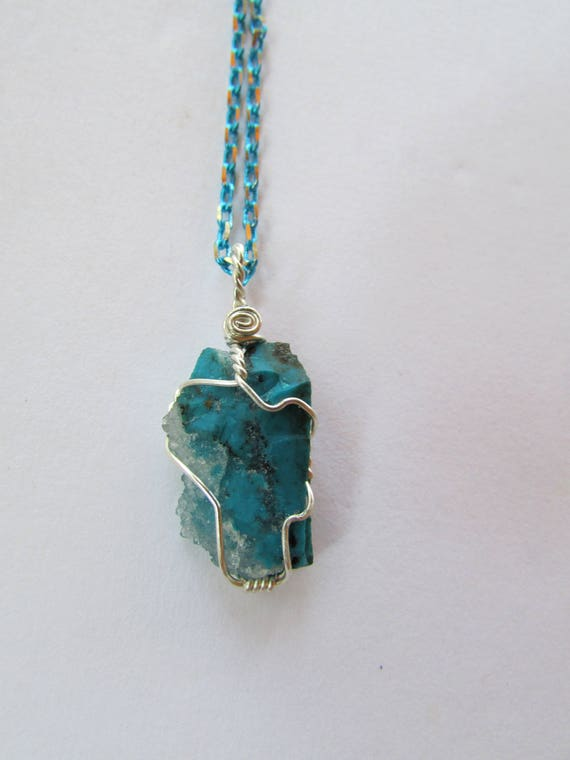 Raw chrysocolla pendant sterling silver wire wrap crystal like this item mozeypictures Image collections