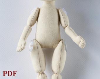 """PDF Tutorial doll 23cm(9"""") Cloth doll pattern Sewing pattern Rag doll pattern Soft doll pattern Handmade doll pattern Body doll Textile doll"""