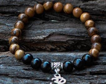 Wooden Bracelet-Stretch Bracelet-Unisex Bracelet-Wood Bead Bracelet-Brown Bracelet-Black Wood Beads-Reiki Jewellery-FREE SHIPPING WORLDWIDE