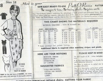 1960s Mail Order 8288 Women's Dress and Jacket Sewing Pattern