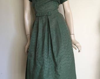 Gorgeous NOS Vintage 50s Green Day Dress / Extra Large / Deadstock