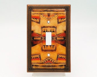 Native American Art Light Switch Cover, Tribal Switch Plate, Western Light Switch, Native American Decor, Southwestern Switchplate in Copper