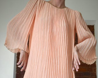 1940's Peach Silk Accordion Pleated Dress