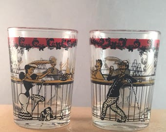 Set of 2 Hazel Atlas Shot Liquor Glasses MID CENTURY 1800'S Bar Saloon Scene Vintage