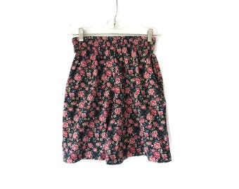 Floral Shorts High Waisted Flowy 90s Cotton Shorts Elastic Waist 1990s Size Small S High Rise Waist