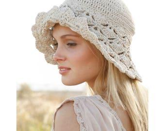 Women's Sun Hat, Hat with Brim, Summer Beach Hat, Cotton Beach Hat, Shell Stitch Hat, Women's Beach Hat, Summer Hat, Gift for her