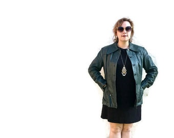 Green leather jacket // green leather pea coat // womens 70s leather button up jacket // 1970s leather jacket UK 14