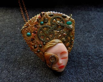 Statement Steampunk, Steampunk Art Jewelry, Cogs and Gears Jewelry, Copper brass Necklace, Steampunk Face, post apocalyptic jewelry