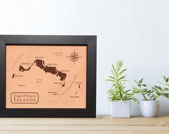 3rd anniversary leather map - leather gift idea - laser engraved leather wedding map - ANY location