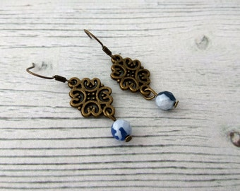 Indigo - blue agate earrings, navy blue earrings, drop earrings, crystal jewelry, blue gemstone, blue bronze jewelry, natural gemstone