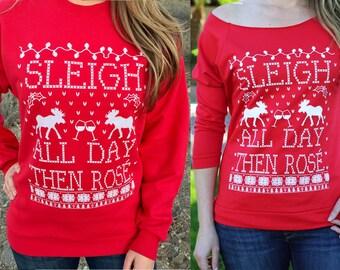 Wine Sweater. Wine Shirt. Rose All Day. Sleigh All Day. Slay All Day. Then Rose. Christmas Shirt For Women.
