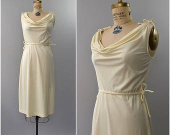 1970's cream grecian dress with shoulder ties • small