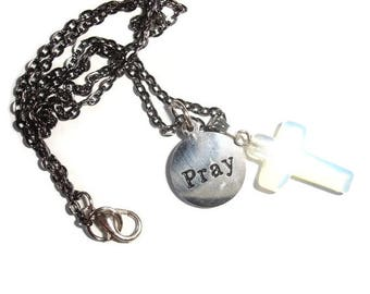 Opal Cross Pray Necklace Religious gift Gift for Him Gift for Her Gift for Religious Gift for Christian cross necklace Petite cross Opal