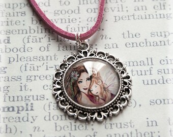 Silver Necklace, Silver Jewelry, Silver Pendant, Pink Necklace, Mum Necklace, Fairy Jewelry Gifts for Mum, Fairy Pendant, Handmade Pendant