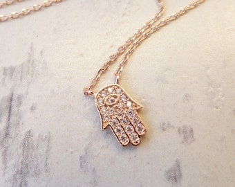 Teeny Tiny Rose Gold or Silver plated hamsa hand necklace with cubic zirconia ...dainty and simple