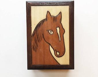 Wooden box with horse design - folk art, vintage box, trinket box, jewellery box, brown wood trinket box, equestrian crafts, handmade