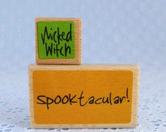 Spooktacular Stamp, Halloween Stamps, Wicked Witch Stamp, Set of 2, Wood Mounted Rubber Stamps, Paper Crafts, Card Tag Making