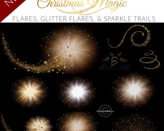 NEW 23 Christmas Magic Light Flares with Glitter Gold star trails, Overlays for Photography Sessions, Holiday Gold Glitter Dust (version 1)